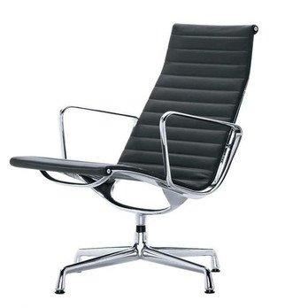 Vitra - EA 115 Aluminium Chair Bürostuhl - schwarz/Leder 66 nero/BxHxT 62x90x72cm/Gestell Aluminium poliert/nicht drehbar