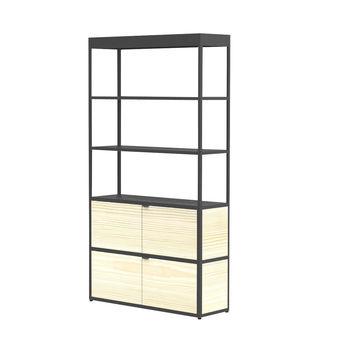 HAY - New Order Regal/Schrank 100x185.5cm - charcoal/esche/lackiert/mit 2 Holztüren/4 Seitenwände, 2 Rückwände