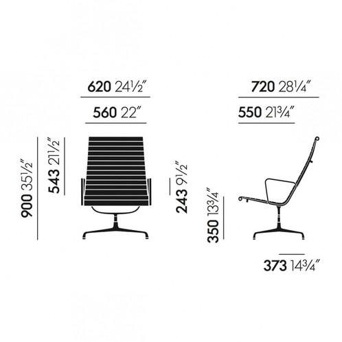 Vitra - Vitra EA 116 Aluminium Chair Bürostuhl - Strichzeichnung