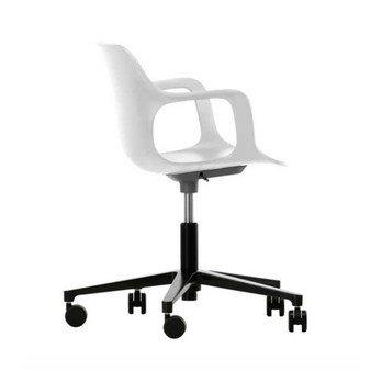Vitra - HAL Armchair Studio Drehstuhl - weiß/Sitzfläche weiß/BxHxT 71x74x71cm/Gestell schwarz/mit weichen Rollen