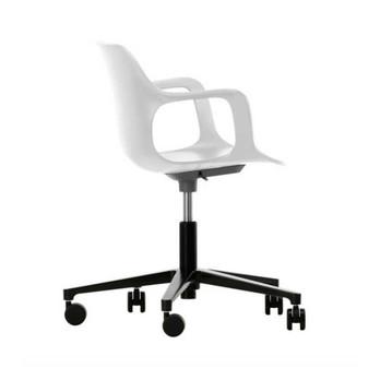- HAL Studio Drehstuhl - weiß/Sitzfläche weiß/BxHxT 71x74x71cm/Gestell schwarz/mit weichen Rollen