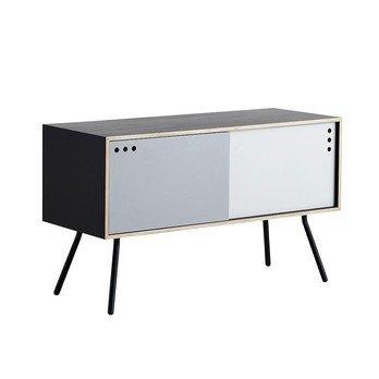 Woud - Geyma High Sideboard - schwarz/lackierte Eiche