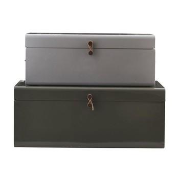 House Doctor - House Doctor Metall Boxen Set 2tlg. - grau/dunkelgrün/S: 52x26x20 cm/L: 60x36x24 cm