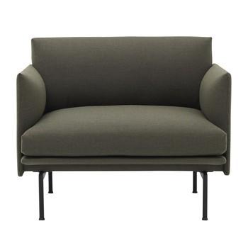 Muuto - Outline Sessel  - dunkelgrün/Stoff kvadrat fiord 961/LxBxH 88x84x69,5cm/Gestell Aluminium schwarz: pulverbeschichtet