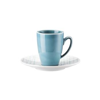 Rosenthal - Rosenthal Mesh Line Espressotasse+Untertasse - weiß/blau aqua/glänzend/mikrowellengeeignet/Espressotasse: 0,08l/ Untertasse: Ø12cm