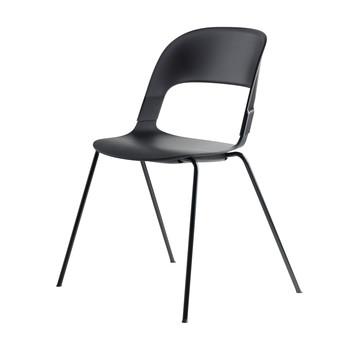 Fritz Hansen - Pair Chair BH20 Stuhl - schwarz/Sitzfläche Eiche schwarz/Gestell Chrom schwarz/58x69x52cm