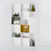 - Nex Pur Regal 130x211.5x35cm - weiß/gold/grün/MDF matt lackiert/18 Fächer davon 2 mit langer Tür/1x Einschub in gold/1x Einschub in grün
