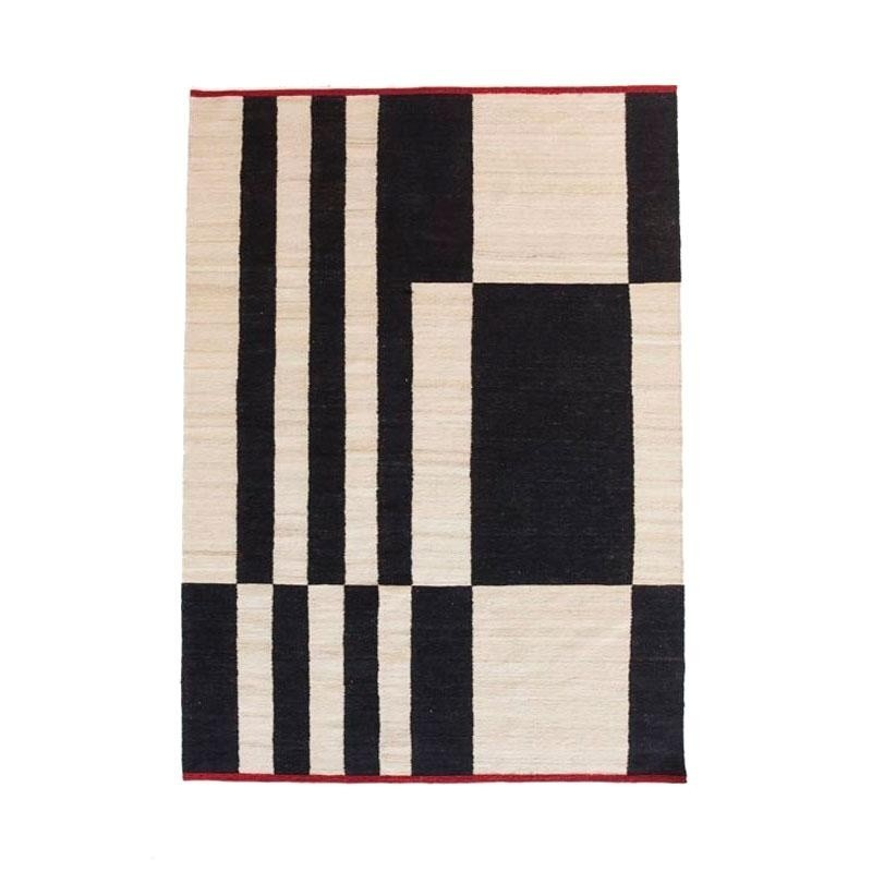 Black And White Striped Wool Carpet