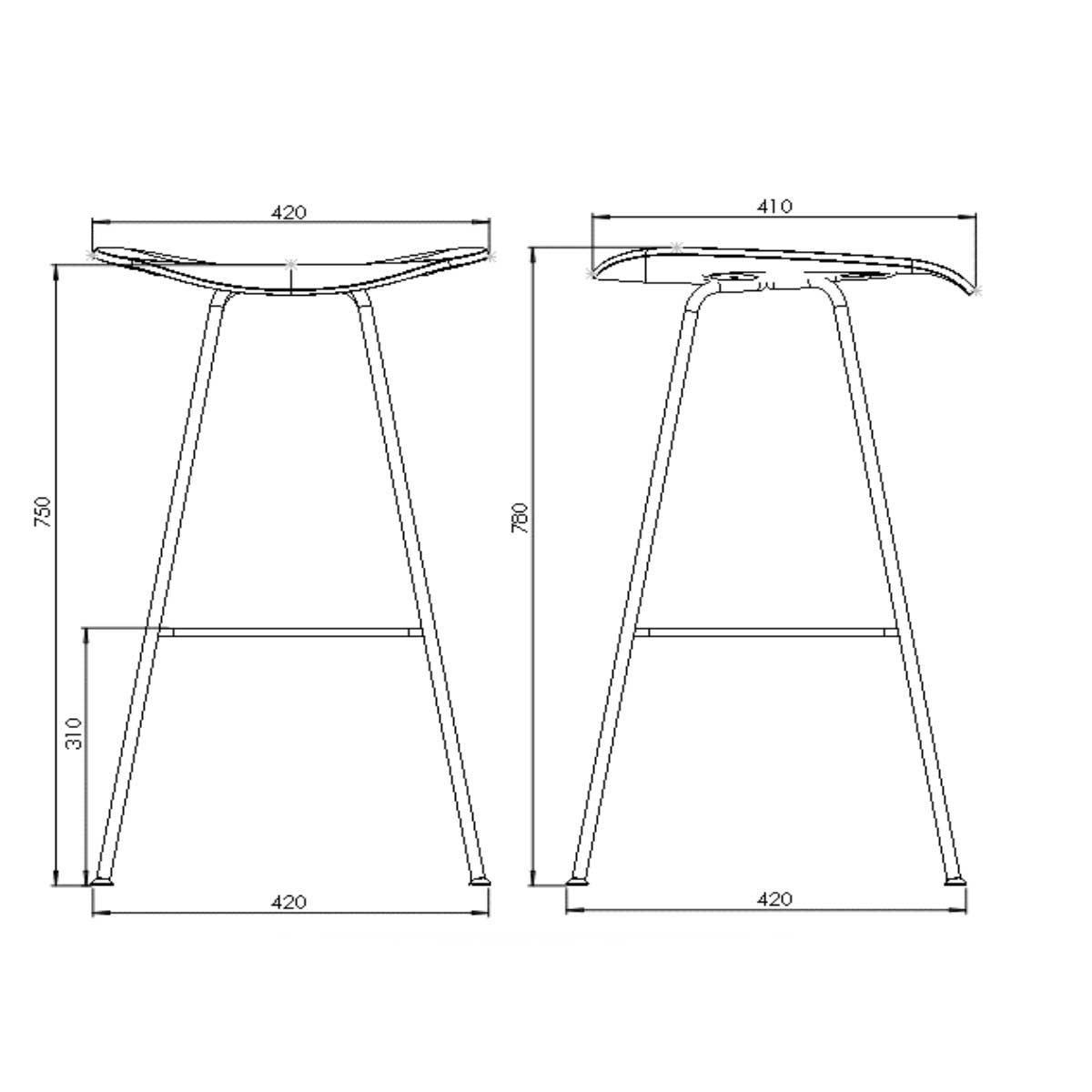 Gubi 2d Bar Stool Line Drawing