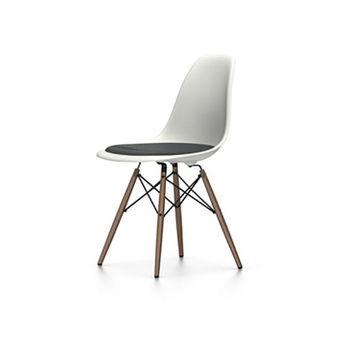 Vitra - Eames Plastic Side Chair DSW   Ausstellungsstück - weiß/dunkelgrau/Sitzpolster Hopsak/Gestell Ahorn dunkel/Einzelstück - nur einmal verfügbar!
