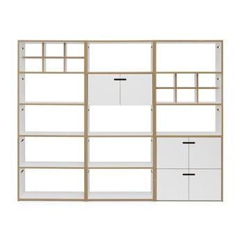 Tojo - Hochstapler Regal mit Türen 228x179cm - weiß/BxHxT 228x179x32cm/mit 6 Türen + 2 Regaleinsätzen