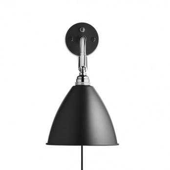 Gubi - Bestlite BL7 Wandleuchte - schwarz/matt/H 29cm, Ø 16cm/Gestell Chrom mit Kabel