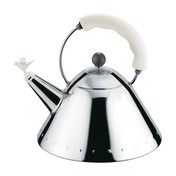Alessi - 9093 Wasserkessel  - edelstahl/poliert/Griff weiß