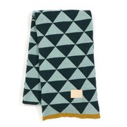 ferm LIVING - Remix Blanket - blue-green patterned/jacquard knit with leather logo label/washable at 30°C