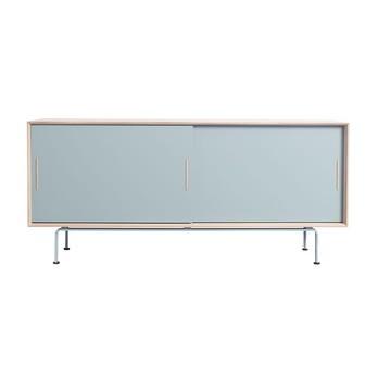 Andersen Furniture - Andersen Furniture S4 Sideboard Sockel Stahl - staubgrün/eiche/eiche geseift/B 186 x T 45 x H 82 cm/Sockel staubgrün