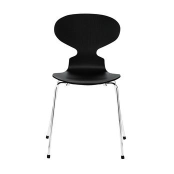 Fritz Hansen - Die Ameise Stuhl lasiert/gestrichen 46,5cm - Esche schwarz/Gestell chrom/lasiert