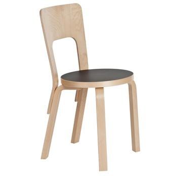 Artek - 66 Stuhl - Linoleum schwarz/Gestell Birke natur lackiert/39x80x42cm/Neue Sitzhöhe!
