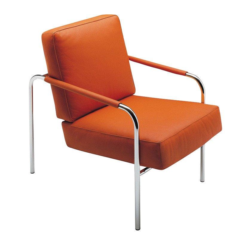 ... Zanotta   Susanna Armchair   Orange/leather Scozia 0618/frame Chrome ...