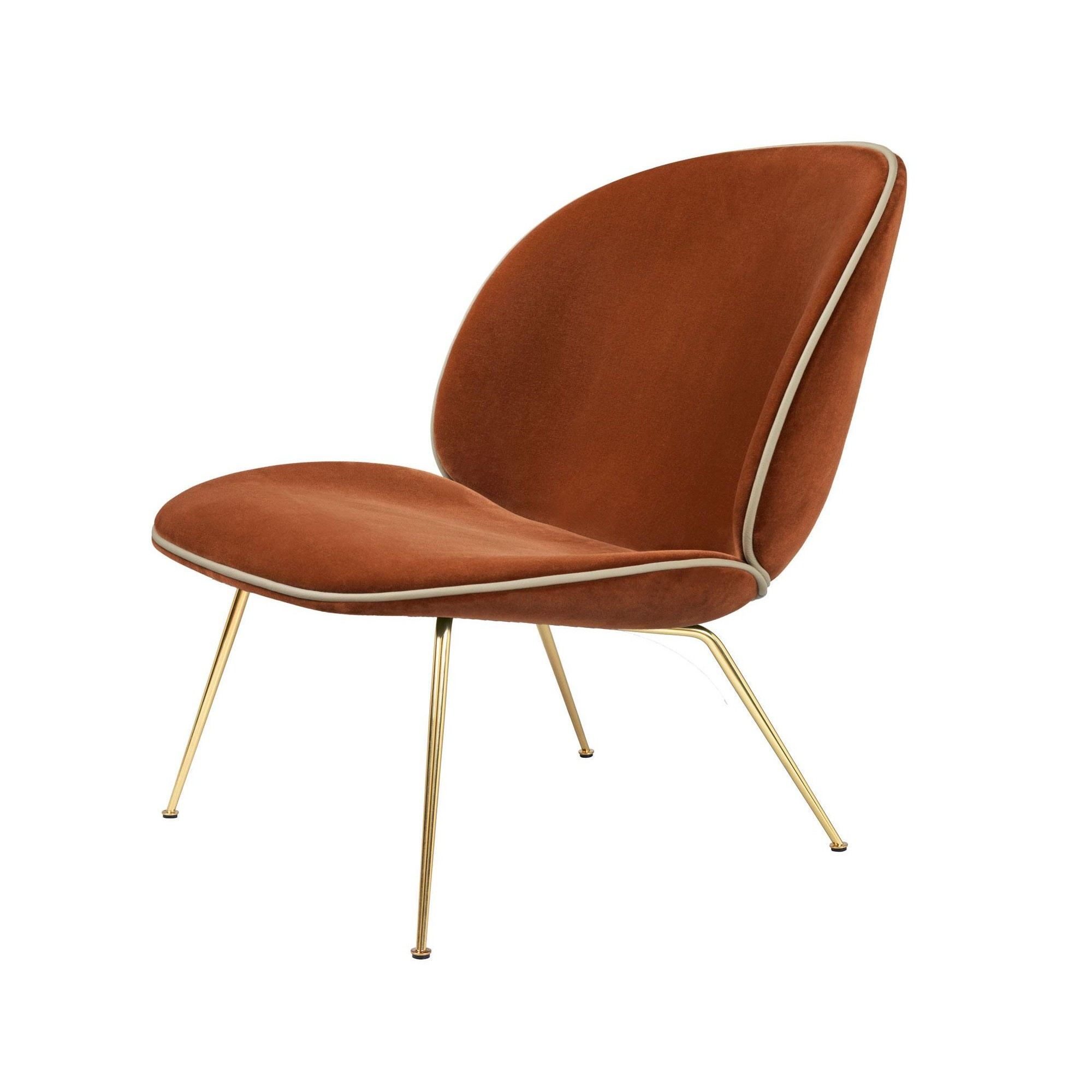 Gubi   Beetle Lounge Chair With Velvet And Brass Base   Red Brown/Velvet