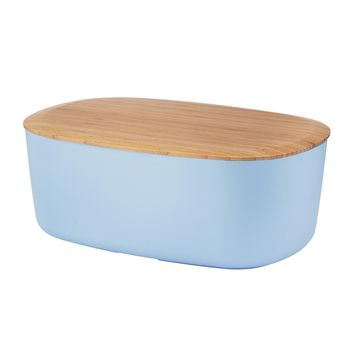 RIG-TIG - RIG-TIG Box-It Brotkasten - blau/Deckel Bambus/34,5x22,7x14cm