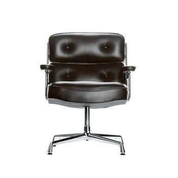 Vitra - Vitra ES 108 Lobby Chair Konferenzstuhl - schwarz/Leder L20/Gestell aluminium