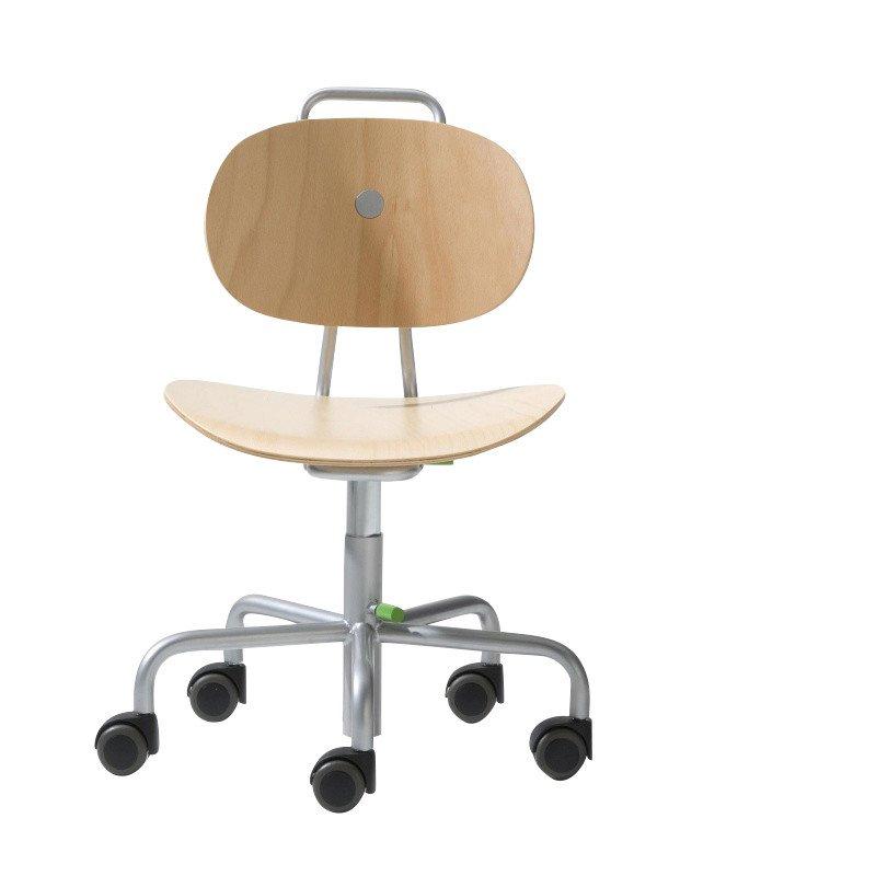 Richard Lampert   Turtle Kids Swivel Chair With Wheels   Beech/frame  Silver/wood ...