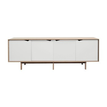 Andersen Furniture - Andersen Furniture S1 Sideboard Türen weiß - eiche geseift/alpinoweiß/L 200 x T 50 x H 68 cm