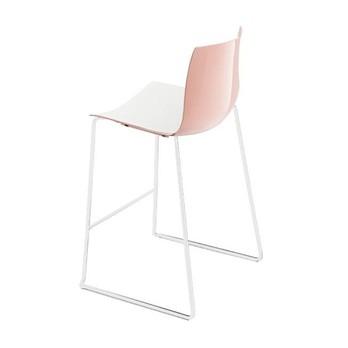 Arper - Catifa 46 0474 Barhocker nied. zweif. Gestell weiß - weiß/rosé/Außenschale glänzend/innen matt/Gestell weiß matt V12/Sitzhöhe 64cm/neue Farbe
