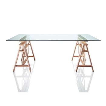 - Teatro Esstisch - Tischplatte glas/Gestell 2 Böcke Birke höhenverstellbar max:95/L x B: 200x 90cm