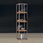 Molteni & C - 45°/tavolino Regalturm - nussbaum/blau/4 Würfel mit Glasplatten+Seitenelementen