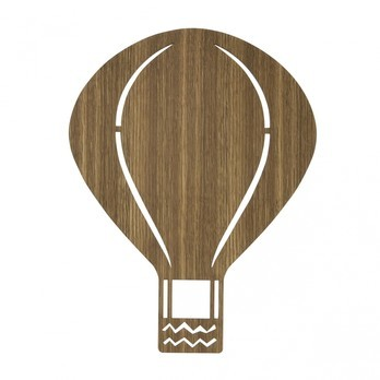 ferm LIVING - Air Balloon LED Wandleuchte - eiche/Eiche geräuchert/Adapter 12V/BxH 26.5x34.5cm