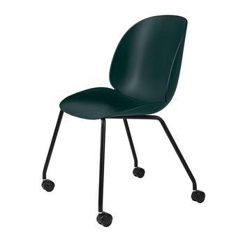 Gubi - Beetle Dining Chair Stuhl mit Rollen - grün/Sitz Polypropylen-Kunststoff/BxHxT 50x87x58cm/schwarzes Gestell mit Rollen