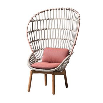 Kettal - Cala Sessel Gestell teak - hellgrau/rosa/Sitz- und Kopfkissen in Ash Rose Laminate 294/105.2x152.3x75cm