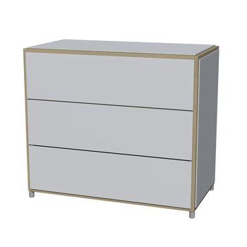 Flötotto - ADD H3 Kommode - weiß/Melamin/ Eiche gekalkt/83,7x43,7x72,8cm/3 Schubladen